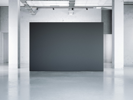 Photo for Blank black wall in modern museum. 3d rendering - Royalty Free Image