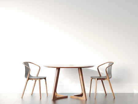 Foto de Two chairs and table in bright modern interior. 3d rendering - Imagen libre de derechos