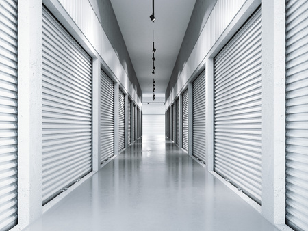 Photo pour Storage facilities with white doors. 3d rendering - image libre de droit