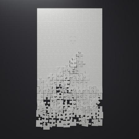 Foto de Broken white puzzle. 3d rendering - Imagen libre de derechos
