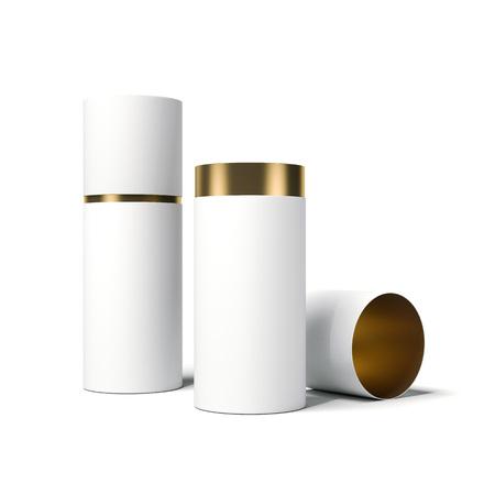 Foto de White and gold tube opened. 3d rendering - Imagen libre de derechos