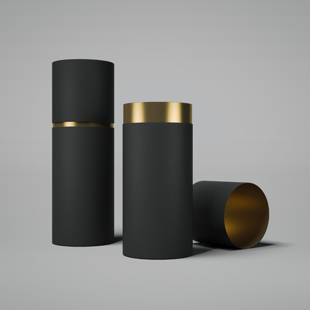 Foto de Black and gold tube opened. 3d rendering - Imagen libre de derechos