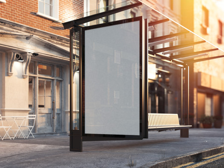 Photo for Bus station with blank banner on a street. 3d rendering - Royalty Free Image