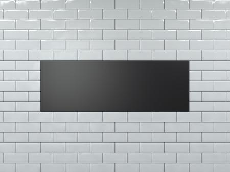 Photo pour Blank black wide banner. 3d rendering - image libre de droit