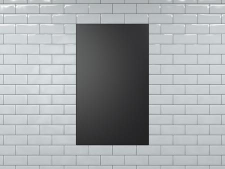Photo pour Blank black vertical banner. 3d rendering - image libre de droit