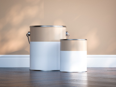 Photo for Two paint cans against beige wall. 3d rendering - Royalty Free Image