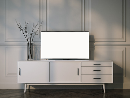 Photo for White tv stand with flat LCD television. 3d rendering - Royalty Free Image