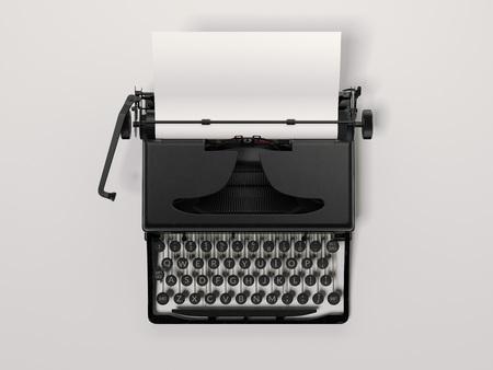Foto de Black stylish typewriter with blank paper sheet. 3d rendering - Imagen libre de derechos