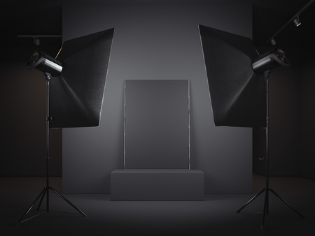 Photo for Dark photo studio with picture frame. 3d rendering - Royalty Free Image