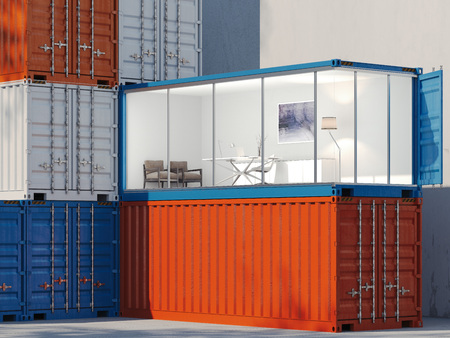 Foto de Freight containers. One container is converted into an office. 3d rendering - Imagen libre de derechos