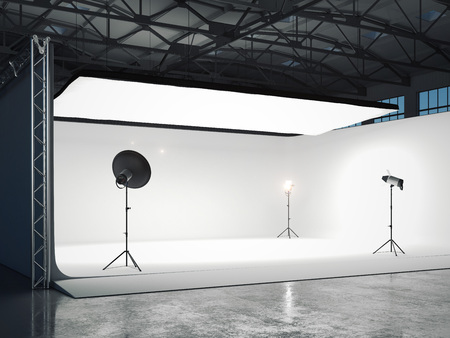 Photo for Photographic studio with several light sources. 3d rendering - Royalty Free Image