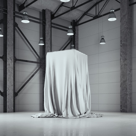Photo for Loft hangar with photo studio and covered with cloth showcase. 3d rendering - Royalty Free Image