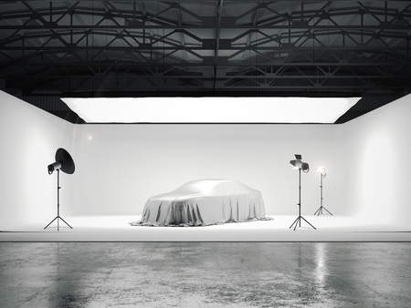 Photo for Large photographic studio with a car and several light sources. 3d rendering - Royalty Free Image