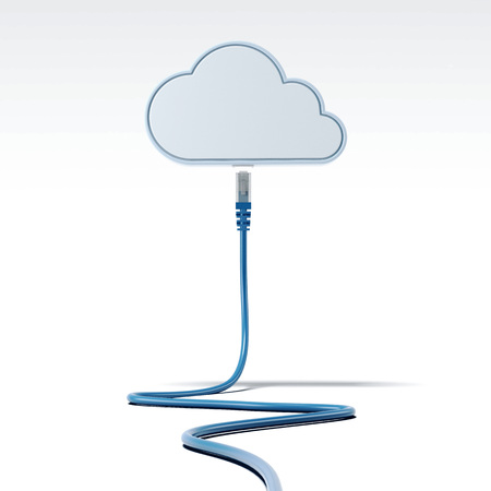 Foto de Blue patch cable connecting with cloud. Network concept. 3d rendering - Imagen libre de derechos