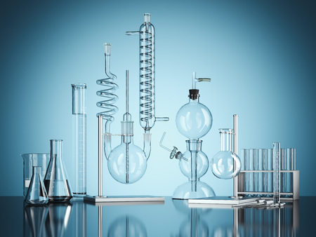 Foto de Glass chemistry lab equipment on blue background. 3d rendering - Imagen libre de derechos