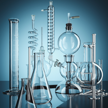 Foto de Glass chemistry lab equipment. 3d rendering - Imagen libre de derechos