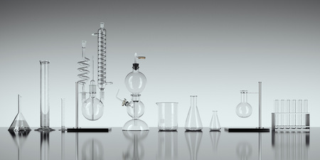 Foto de Glass chemistry lab equipment on white background. 3d rendering - Imagen libre de derechos