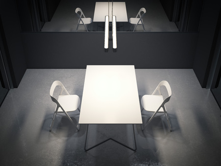 Photo pour Dark room for interrogation with two white chairs. 3d rendering - image libre de droit