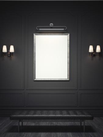 Foto de Dark classic interior with a silver picture frame. 3d rendering - Imagen libre de derechos