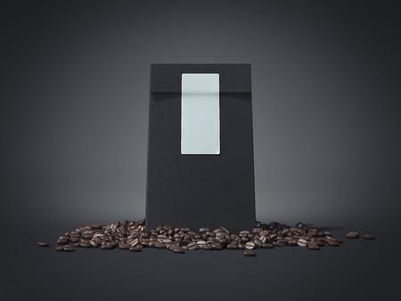 Foto de Black package with blank sticker and coffee beans. 3d rendering - Imagen libre de derechos