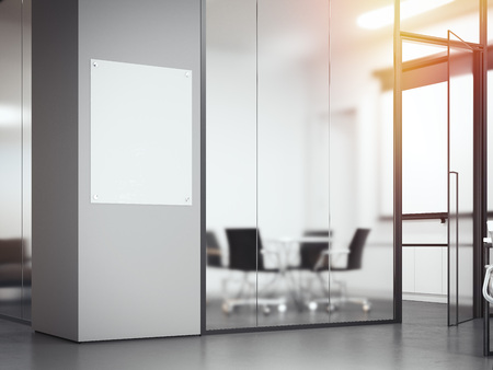 Photo for Signboard at the office with glass partitions. 3d rendering - Royalty Free Image