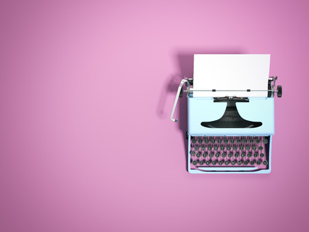 Photo pour Blue typewriter. 3d rendering - image libre de droit