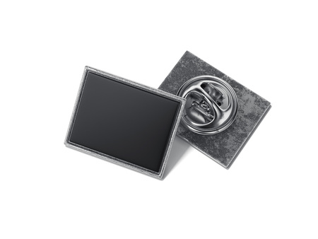 Foto de Square lapel pin with black blank face. 3d rendering - Imagen libre de derechos