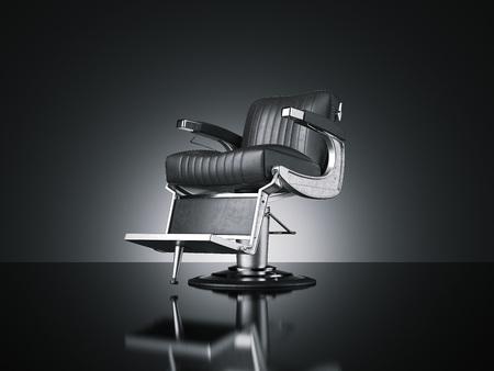 Photo pour Barbershop chair isolated dark background. 3d rendering - image libre de droit