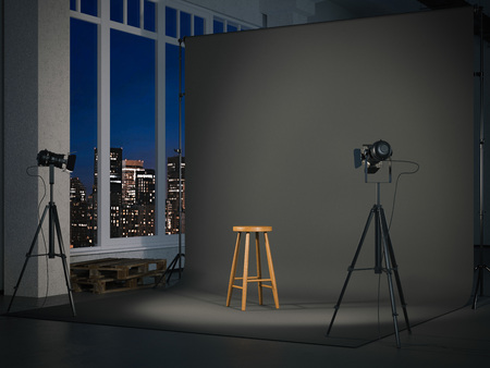 Photo for Modern photostudio with blank screen and wooden chair. 3d rendering - Royalty Free Image