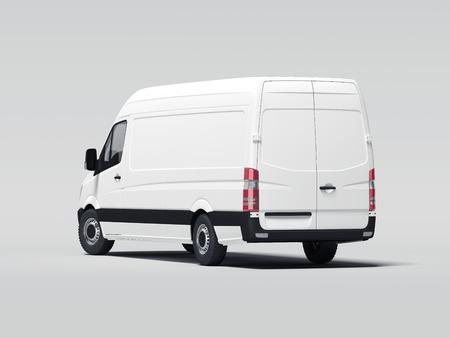 Photo pour White truck with blank walls. 3d rendering - image libre de droit