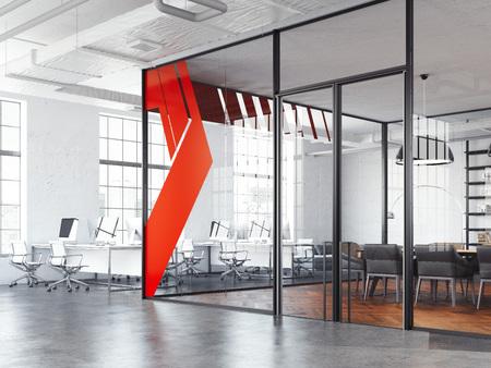 Foto de Office meeting room and white working open space, 3d rendering - Imagen libre de derechos