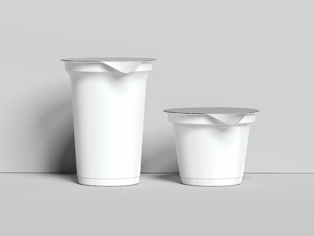 Foto de Yogurt containers isolated on grey background. Blank boxes dessert. 3d rendering - Imagen libre de derechos