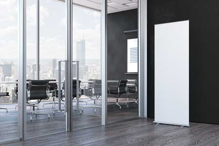 Photo pour Close up of blank white roll up in modern office, 3d rendering - image libre de droit