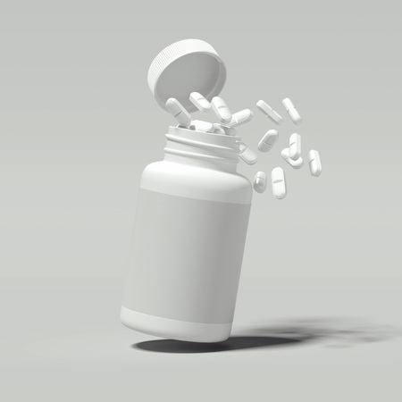 Foto de White pills spilling out of white bottle, 3d rendering. - Imagen libre de derechos