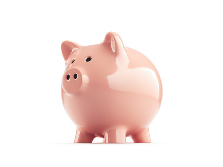 Foto de Pink piggy bank on white background, side view. 3d rendering. - Imagen libre de derechos