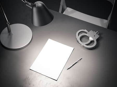 Foto de Grey table with switched-on lamp, handcuffs and paper sheet, 3d rendering. - Imagen libre de derechos