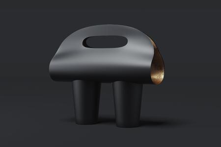 Foto de Blank coffee cup carrier mockup isolated on black background. 3d rendering. - Imagen libre de derechos