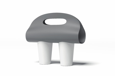 Foto de Blank coffee cup carrier mockup isolated on white background. 3d rendering. - Imagen libre de derechos