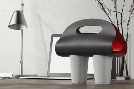 Foto de Black coffee cup carrier mockup and white coffee cups on table. 3d rendering. - Imagen libre de derechos