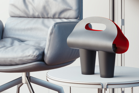 Foto de Black coffee cup carrier mockup on white table at modern office. 3d rendering. - Imagen libre de derechos