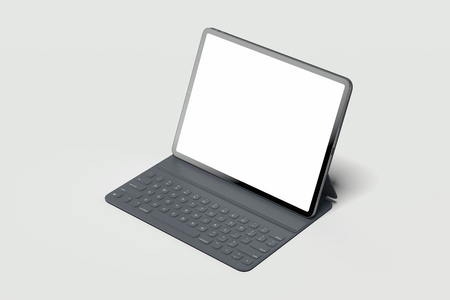 Foto de Black modern laptop with blank screen on light background. 3d rendering. - Imagen libre de derechos