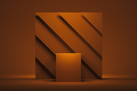 Photo pour Showcase with empty space pedestal on orange square background. 3d rendering. - image libre de droit