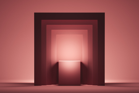 Foto de Showcase with empty space on pedestal on pink square background. 3d rendering. - Imagen libre de derechos