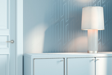 Photo pour White switched-on lamp on white wooden cupboard, 3d rendering. - image libre de droit
