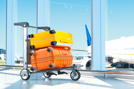 Photo pour Two modern coloured blank suitcases with airport on background, 3d rendering. - image libre de droit