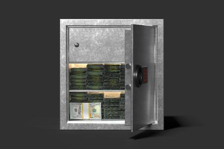 Photo pour Safe with money isolated on black background. 3d rendering. - image libre de droit