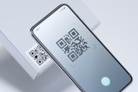Foto de Modern stylish mobile phone scanning QR code on white box. 3d rendering. - Imagen libre de derechos
