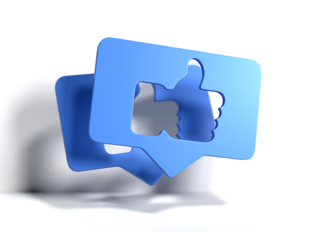 Photo pour Thumbs up blue symbols or icons. 3d rendering. Social media concept. - image libre de droit