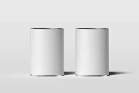Foto de Cans with blank white labels isolated on white background, 3d rendering. - Imagen libre de derechos