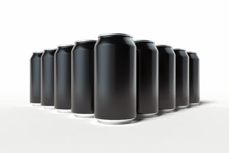 Foto de Black aluminum beer or soda can isolated on white background, 3d rendering. - Imagen libre de derechos